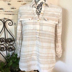Ellen Tracey linen tan and white striped tunic
